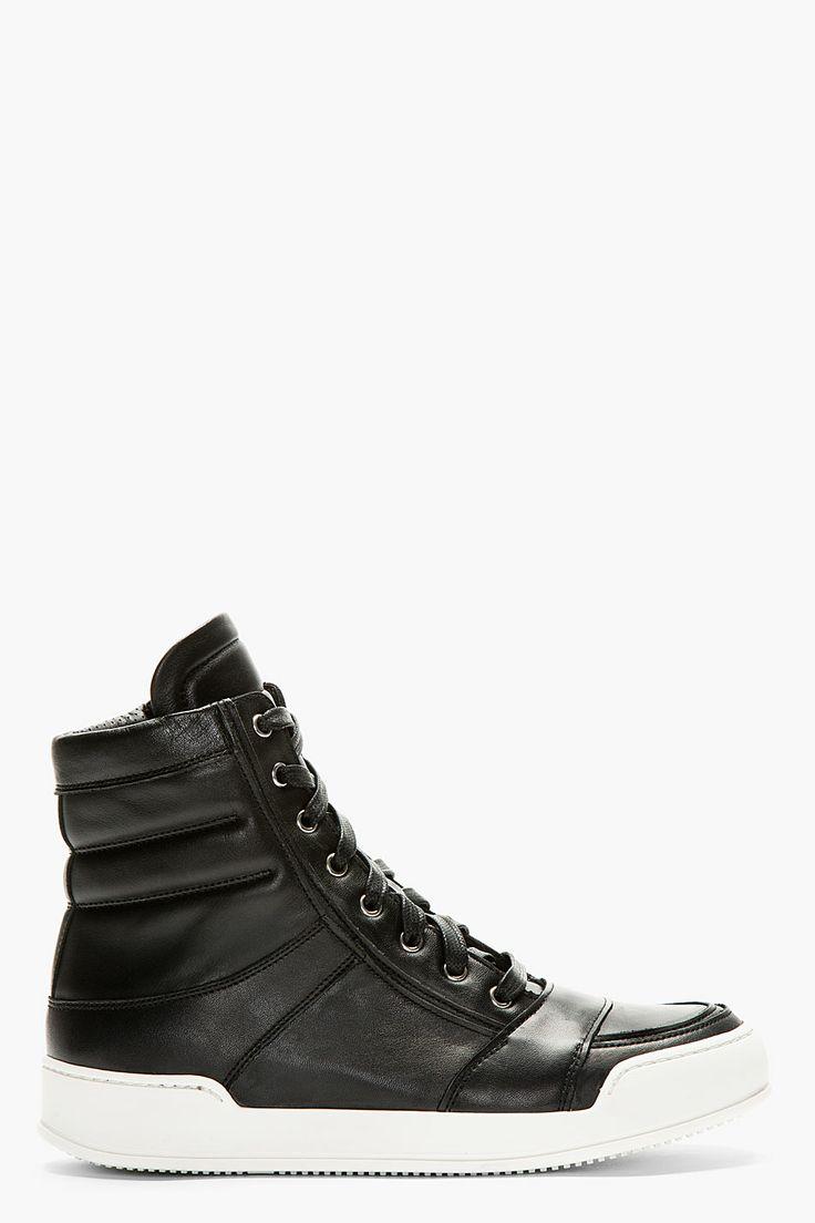 BALMAIN Black Hi-Top Sneakers
