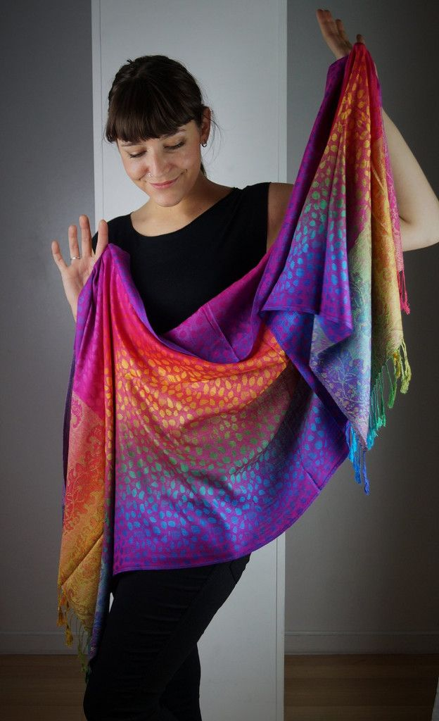 Scarf pashmina wrap in rainbow colour weave with animal print pattern and fringe. Silky soft viscose.