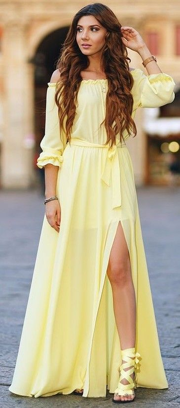 Off The Shoulder Yellow Maxi Dress                                                                             Source