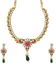 Buy Pink and Green Designer Navratri Necklace necklace-set online