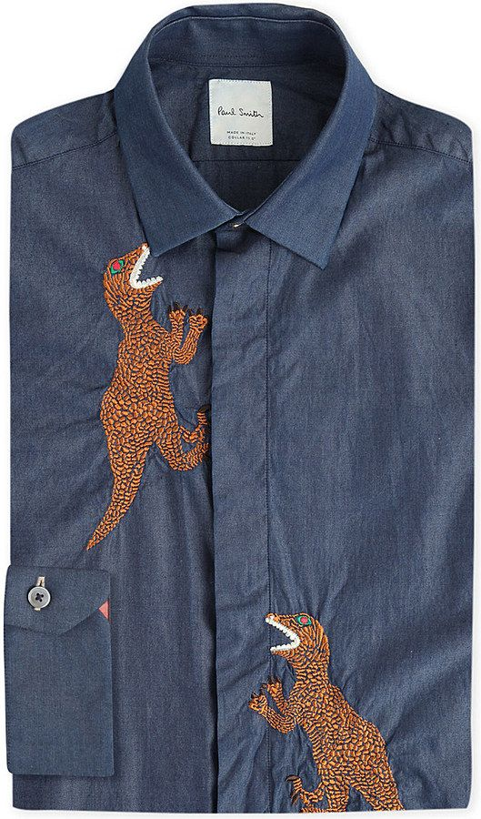 46e0fa63 PAUL SMITH Dinosaur-embroidered regular-fit chambray shirt   Cider - Label    Shirts, Mens printed shirts, Shirt embroidery
