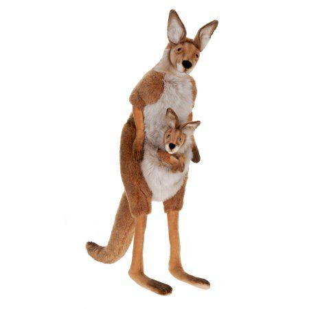 Hansa Life Size Mama and Joey Kangaroo, 45 inch, Beige