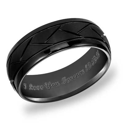 Triton Men's 8.0mm Engraved Comfort Fit Diamond-Cut Black Tungsten Wedding Band (25 Characters)