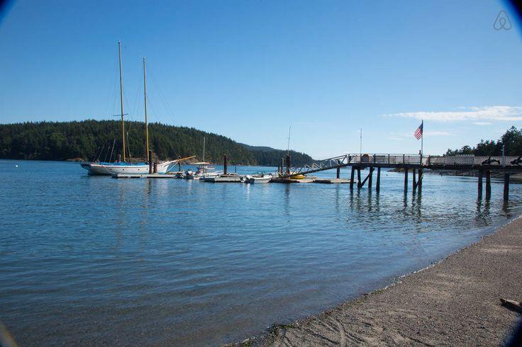 Cais na ilha Orcas, no arquipélago das ilhas san Juan, no estado de Washington, USA.