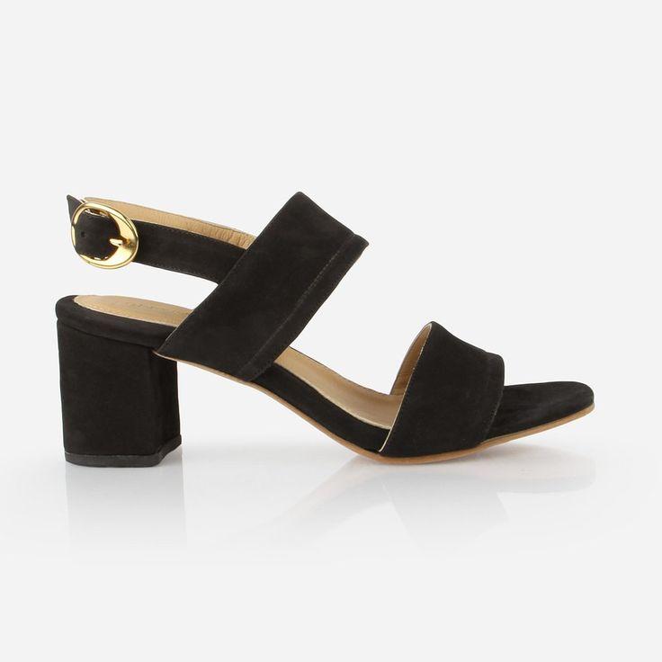 The Slingback Sandal - black suede womens heeled sandal - Poppy Barley