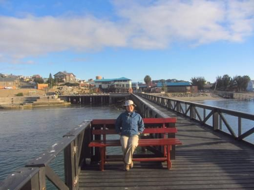 Aida relaxes on pier in Luderitz Harbour