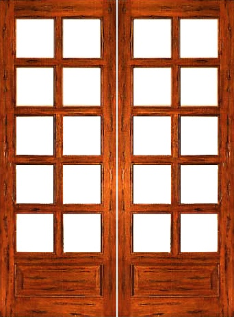 AAW Inc. Rustic P/B Rustic French Doors 10 Lite Solid Rustic French Double  Door With Panel Bottoms 2500 Prehung