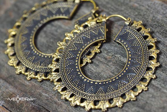 Vedora Brass Afghan Saw Indian Saw Tribal EarringsEar