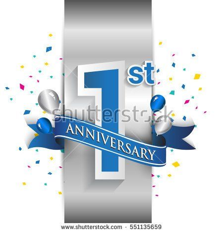 1st anniversary logo with silver label and blue ribbon, balloons, confetti. one Years birthday Celebration Design for party, and invitation card