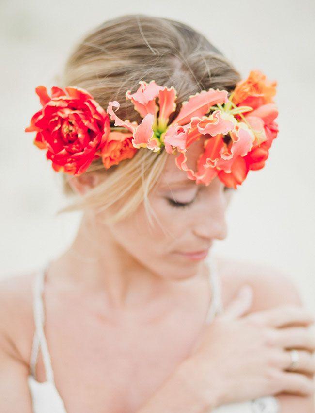Coral & peach floral wreath