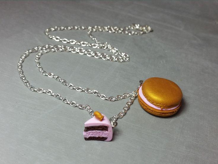 Ketten mittellang - Kette mit Macaron/Tortenstück - ein Designerstück von FlamingoBox bei DaWanda