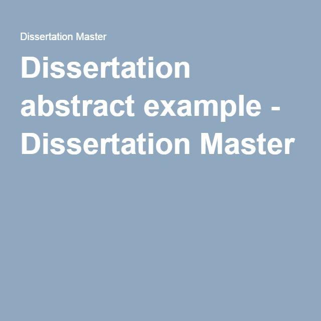 Dissertation abstract example - Dissertation Master