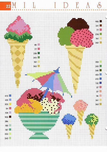 coni di gelato schemi punto a croce - magiedifilo.it punto croce uncinetto schemi gratis hobby creativi