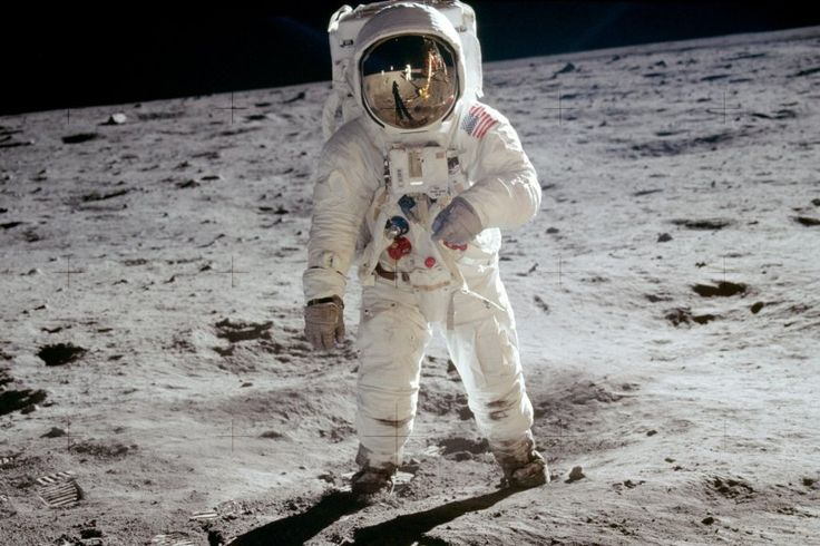 The image show here is the result of recent digital reprocessing of the original pictures of the Moon, including this picture of man on the Moon, taken on film in 1969. Learn more about the moon landing: http://www.space-pictures.com/view/pictures-of-earth/pictures-of-the-moon/moon-landing/index.php