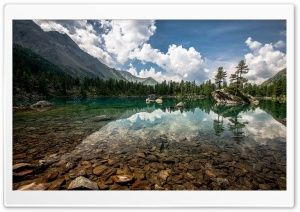 Cristal Clear Mountain Lake HD Wide Wallpaper for Widescreen