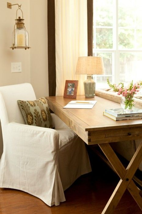 Chic Desk Space behind the sofa in the living room - Love the pine desk & the slip covered chair.