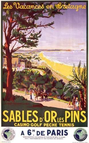 chemins de fer de l'état - Sables d'or les pins - Les vacances en Bretagne - illustration de Suz. Hupot -