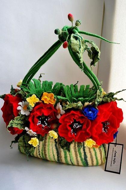 3D Felted Floral Bag ♥