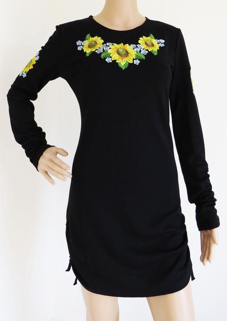 Ladies Long Sleeve Embroidered Tunic Sunflowers stylishdiscoveries.com.au