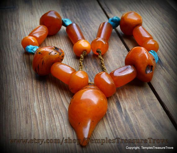Nepalese Honey Amber Resin and turquoise nuggets Traditional Necklace Rich Golden Amber Resin Fair Trade Statement Necklace  From Kathmandu