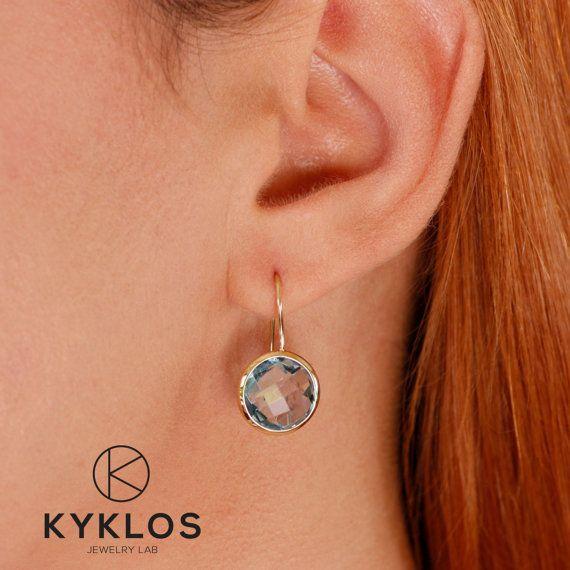 Blue Topaz Earrings Gemstone Hook Earrings Stone Dangle