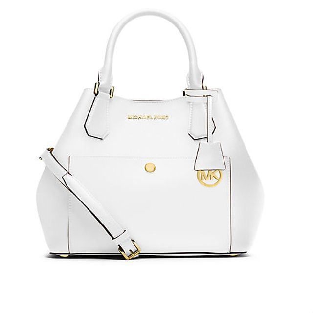 Michael Kors Greenwich Saffiano Leather Large White Satchels