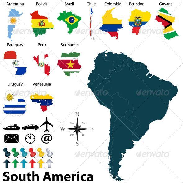 Maps of South America  #GraphicRiver