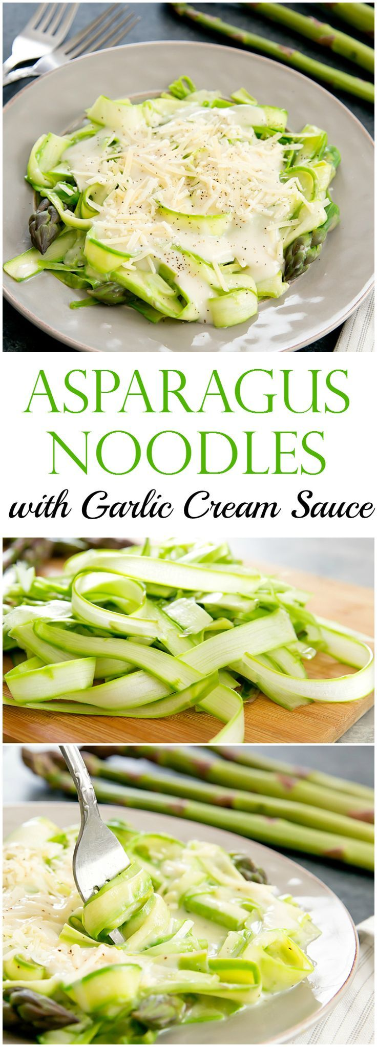 Asparagus Noodles with Skinny Garlic Cream Sauce. Thinly shaved asparagus works as a great low carb, gluten free pasta substitute.