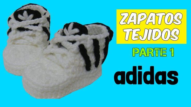 Zapatitos adidas tejidos a crochet 3-6 meses  | parte 1/2