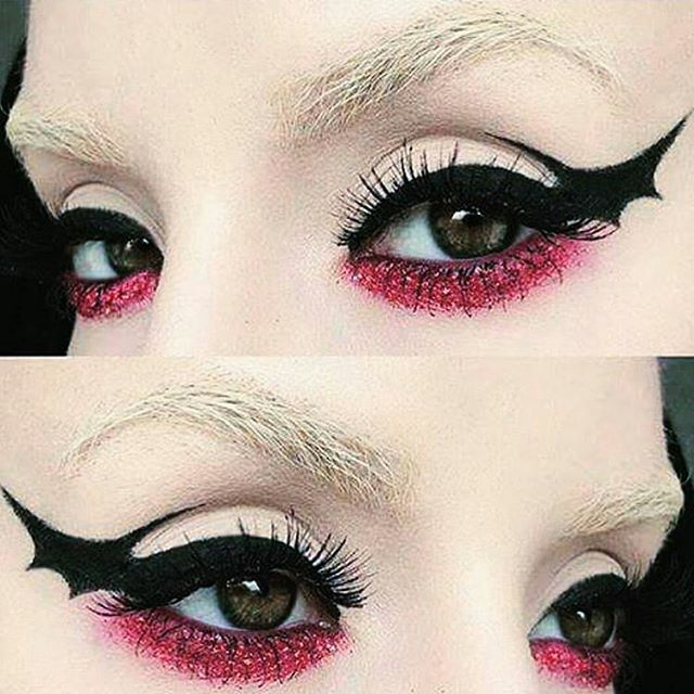 Bat wing graphic eyeliner!  #halloweenmakeupideas