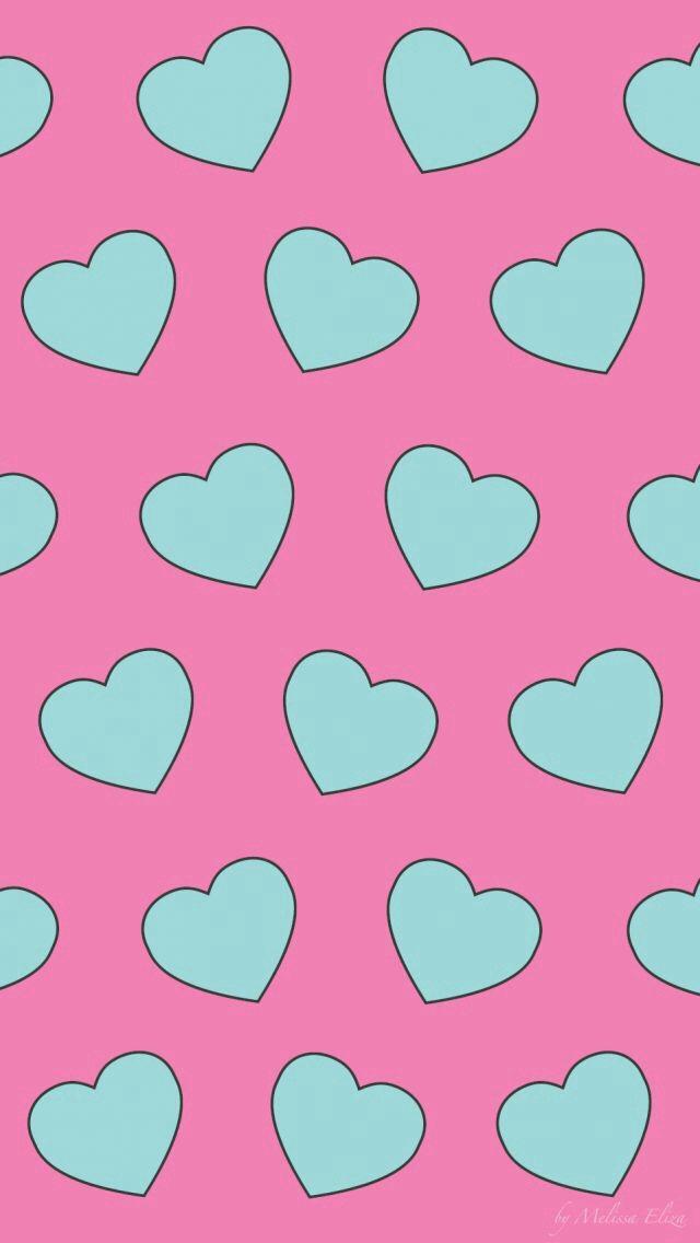 Fondo rosa con corazones turquesas