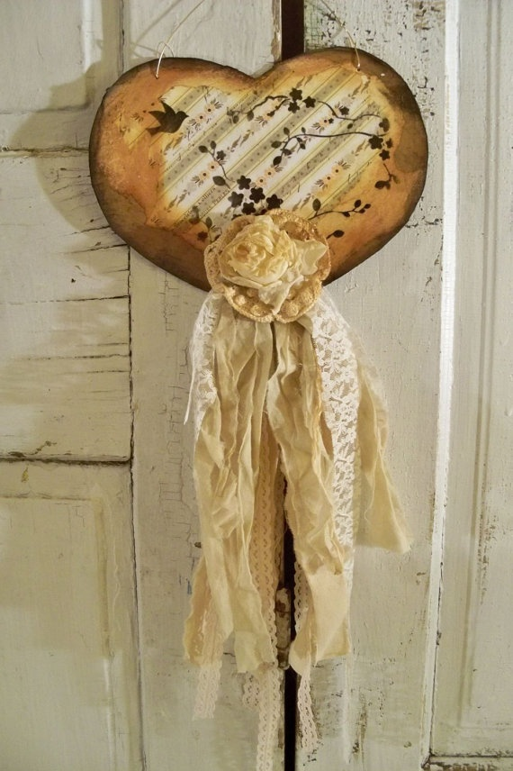 Ornate hanging wall heart distressed adorned by AnitaSperoDesign, $40.00