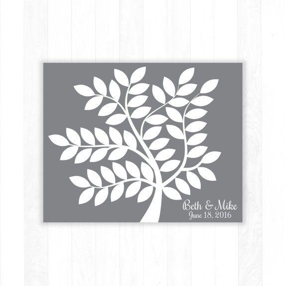Wedding Guest Book Alternative Leaf Tree Art Print, Wedding Guest Book Poster, Large Signature Wedding Guestbook, 55 Guests, Bridal Shower Gift, Wedding Present by Caldson Designs