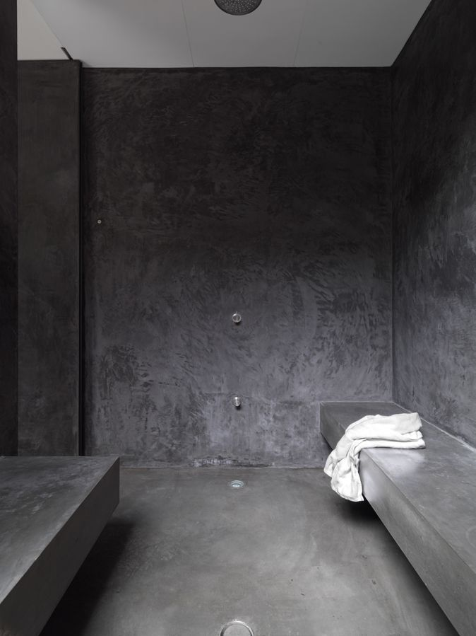 Dark Grey Plaster Shower Would Be Soooo Easy To Clean