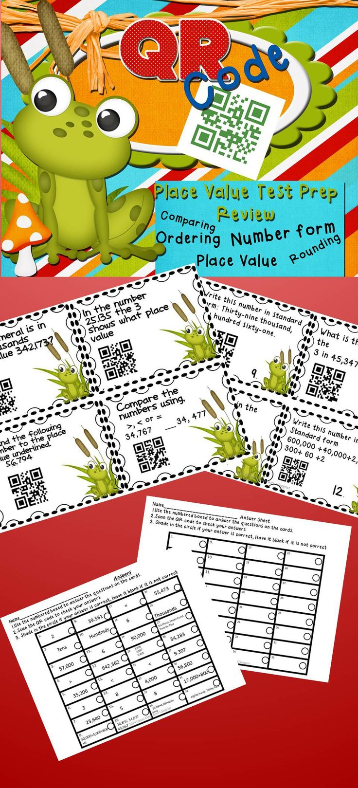 64 best qr codes images on pinterest qr codes augmented reality qr code task cards place value rounding comparing ordering number forms fandeluxe Image collections