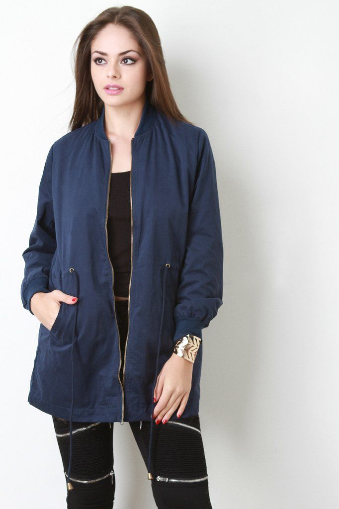 Long Drawstring Waist Bomber Jacket