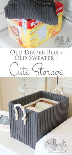Cute storage boxes made from old boxes and sweaters! -- could use any box, as long as it's sturdy.