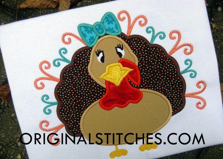 Swirly Turkey Girl Applique Design - Original Stitches