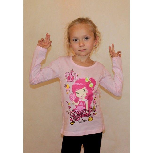 Eperke világos rózsaszín hosszú ujjú póló. Akciós áron 1500 Ft. Új gyerekruha webáruház.