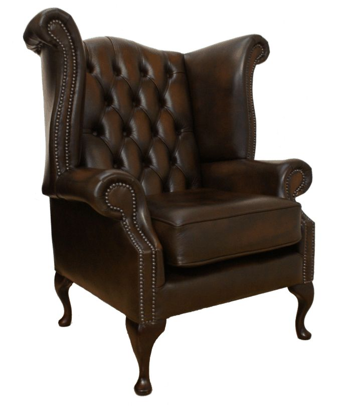 queen anne high back leather wing chair