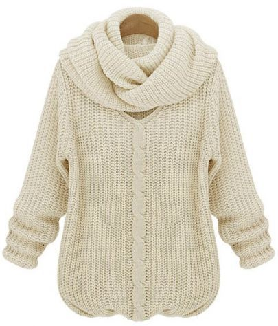 Beige Long Sleeve V Neck Scarves Cable Knit Sweater pictures