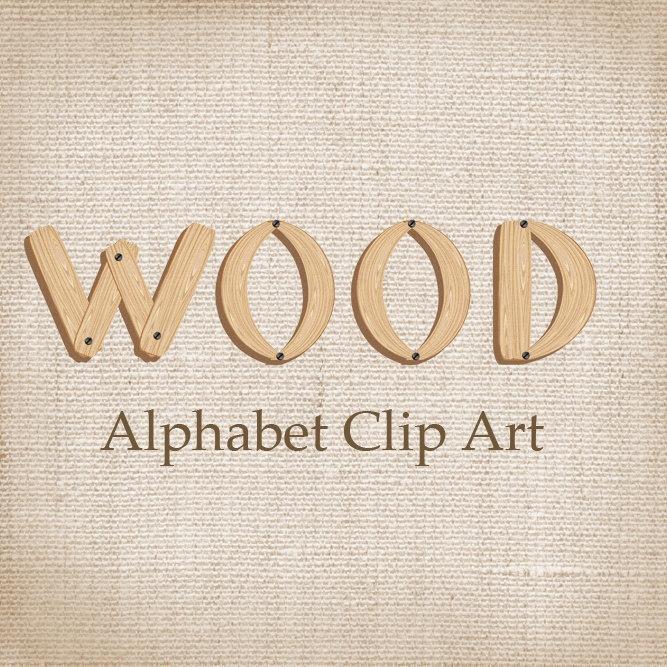 Alphabet Clip Art Wood for scrapbooking card & by martora. $2.00, via Etsy.