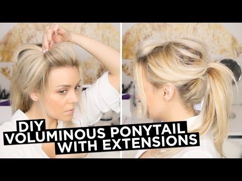 DIY - Easy Voluminous Ponytail with Extensions - YouTube