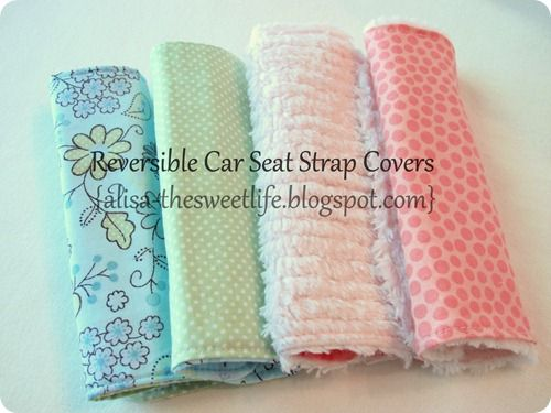 Reversible Car Seat Strap Covers-- tutorial with pictures. VERY easy!