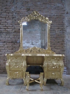 IN STOCK Real Gold Leaf French Rococo Dressing Table Vanity Handmade Fr  Mahogany