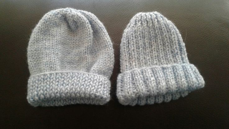 4ply prem beanies for Adam and Jake.  Left pattern Creative Fibre Baby Cap, right pattern Moda Impact Issue 4 pattern 41  2 x 2 Rib Beanie