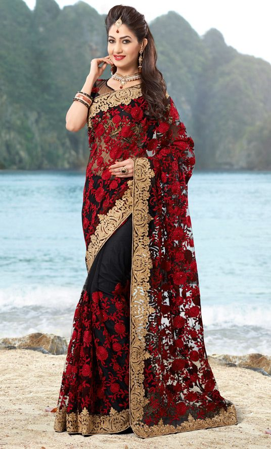 USD 169.85 Red Net Party Wear Saree 47310