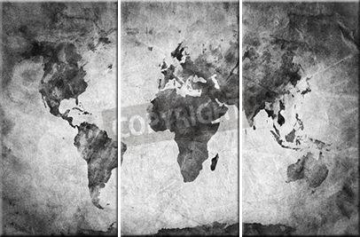 Leinwandbild Bleistiftskizze Weltkarte (3-teilig)