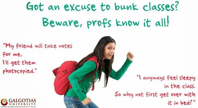 Got an excuse to #bunk #classes? Beware, profs know it all!  Read More to know 10 most common excuses of students. - http://goo.gl/5KicqV