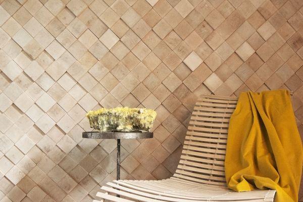Wohnideen Wandgestaltung Deko-Holzfliesen verlegen
